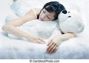 beauty-sleep - Beautiful young woman sleeping with plush...