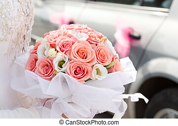 bridal bouquet - beautiful bridal bouquet of roses, low DOF
