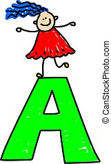 letter A girl - happy little girl standing on letter A -...