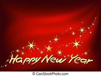 złoty, szczęśliwy, nowy, rok