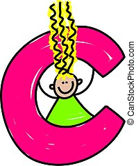 letter C girl - happy little girl with a letter C - toddler...