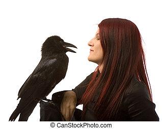 femme, noir, corbeau