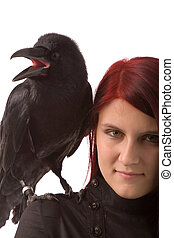 woman with black raven - young woman with black raven on...