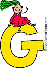 letter G girl - happy little caucasian girl sitting on a...