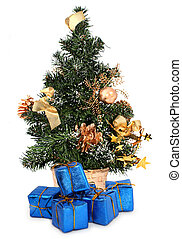christmas tree and gifts against white background, focus set...