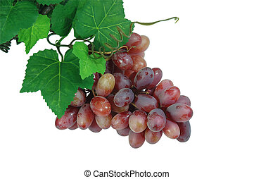 Grapes - A bunch of grapes with leaves