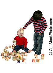 Adorable Brother and Sister - Brother and sister playing...