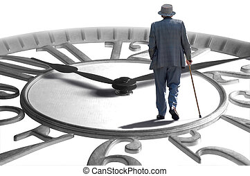 Time Flies - A senior walking on an enlarged clock depicting...