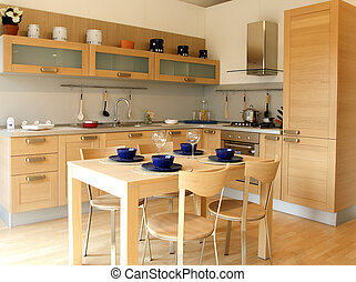 kitchen - Photo of modern wood kitchen