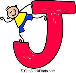letter J boy - happy little boy standing on a giant letter J...