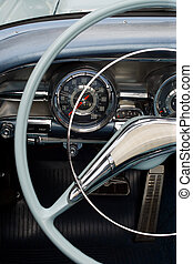 Antique car dashboard - The steering wheel and dashboard of...