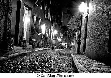 early america - old 19th Century cobble stone road in Boston...