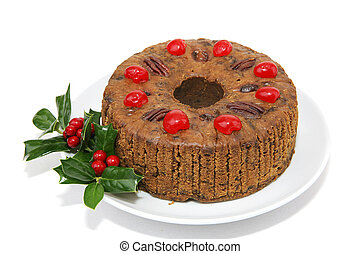 Whole Fruitcake Isolated - Beautiful Christmas fruitcake...