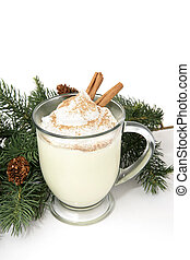 Eggnog and Pine - A thick frothy mug of eggnog garnished...