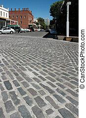 Perspective of Cobblestone Street