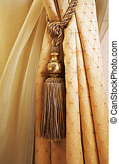 Curtains with ornaments in the modern house
