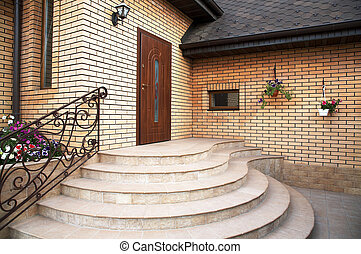 Main entrance in a modern brick cottage