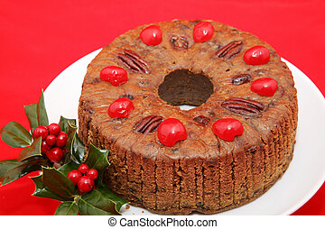 Holiday Fruitcake on Red