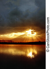 Winter Sunset - Inspirational Sun Rays From Stormy Winter...