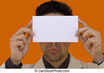 Showing a blank card