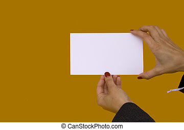 Woman showing a card