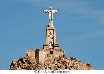Monteagudo statue and castle in Murcia, Spain.