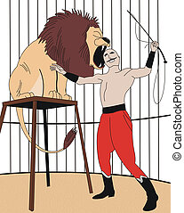 circus - illustration of lion and trainer