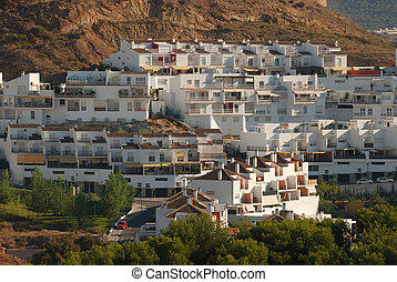 White houses in Malaga, Spain - Traditional white houses in...