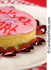 Valentine cake - Little valentine cake surrounded by hearts...