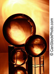 Glass ball - three glass balls with yellow light and...