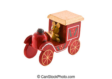 Christmas toy - Wooden colourful Christmas toy, isolated...