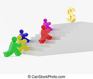 Race behind money. High resolution image. 3d illustration.