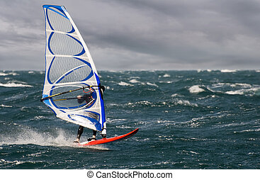 surf - windsurfer on a stormy day close up shoot
