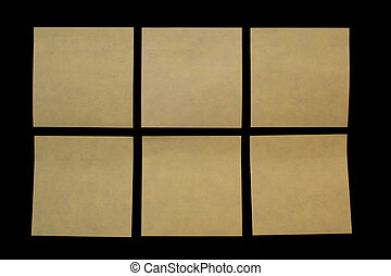 six post-it - six post\\\'it in over a black board