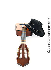 pays, &, occidental, guitare, chapeau