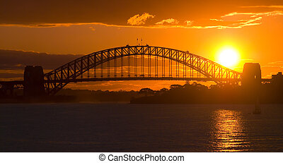 Sydney Harbour Bridge Sunset - Sunsets behind Sydney Harbor...