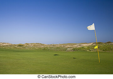 Golf course  - a detail of a hole and flag in a golf course