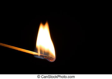 Single burning match - Photo of a single burning match...