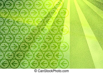 Digital background with rays and arrows in bright green