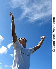 Freedom - Young man with open arms - Success