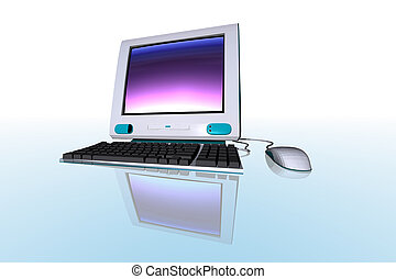desktop computer - 3D render of a desktop computer