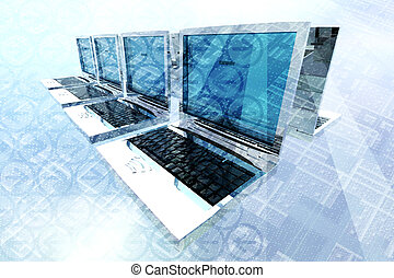 Laptop computer network with abstract technology elements in...