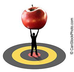 Man carrying apple - Man silhouette standing over bullseye...