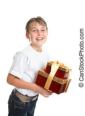 Merry child with presents - An excited and happy child...