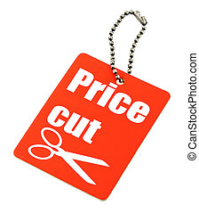 Price cut tag - close-up of Price cut tag against white...