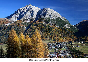 Chamues-ch - View of the village Chamues-ch in Engadin...