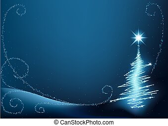 Blue Christmas Tree - abstract christmas illustration