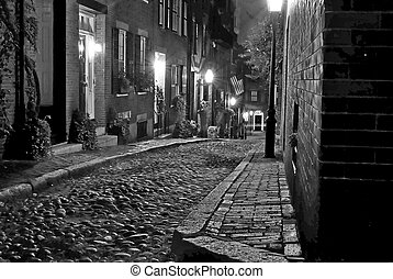 old boston street - black and white image of an old 19th...