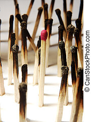 one in the crowd - closeup view of matches with only one...