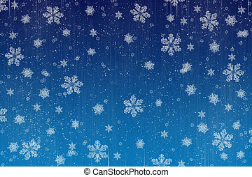 snowing - image of lots of snowflakes on blue background,...
